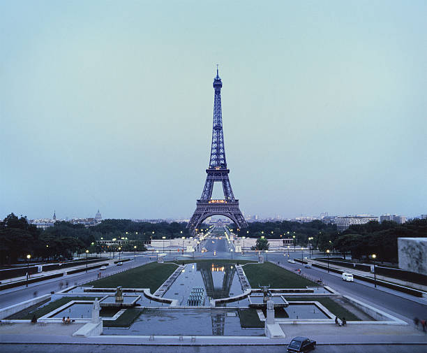 Eiffel Tower in the evening, photo taken during the seventies stock photo