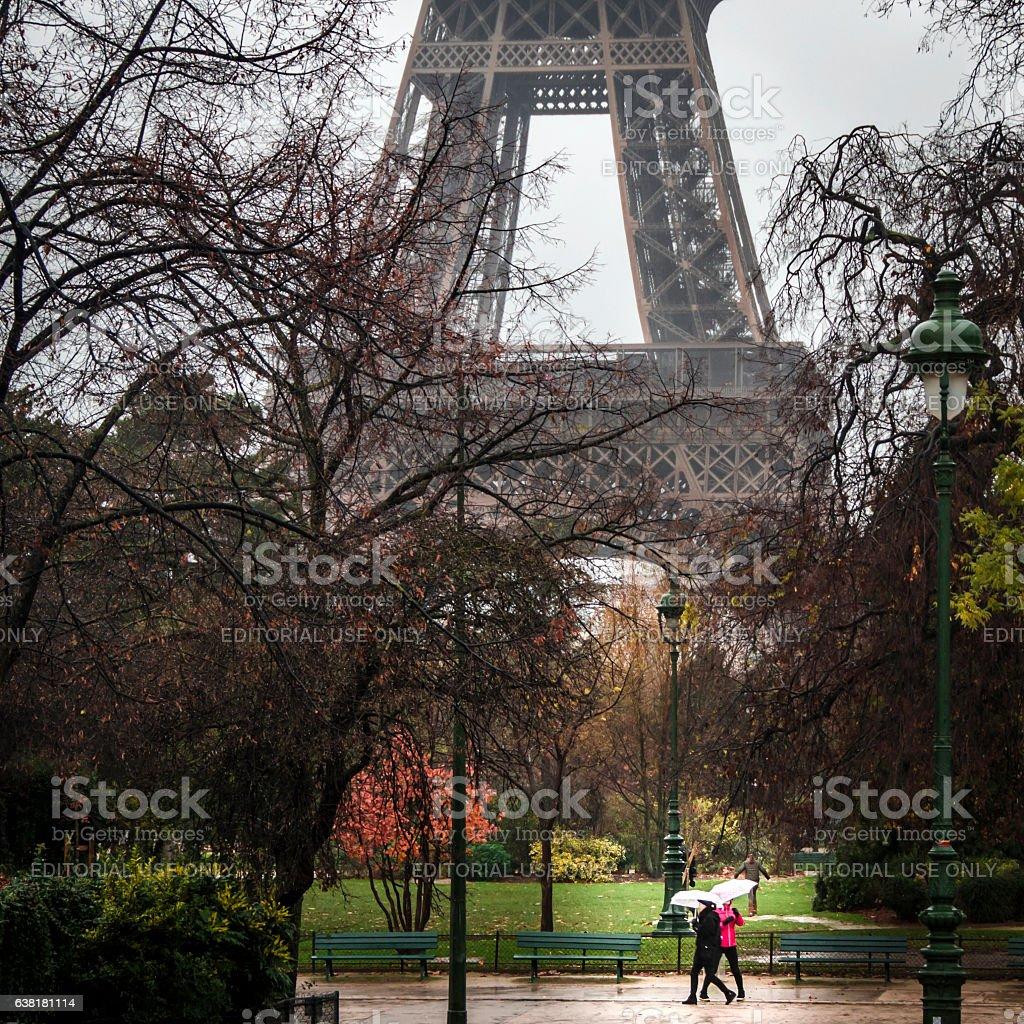 Eiffel Tower in the rain stock photo