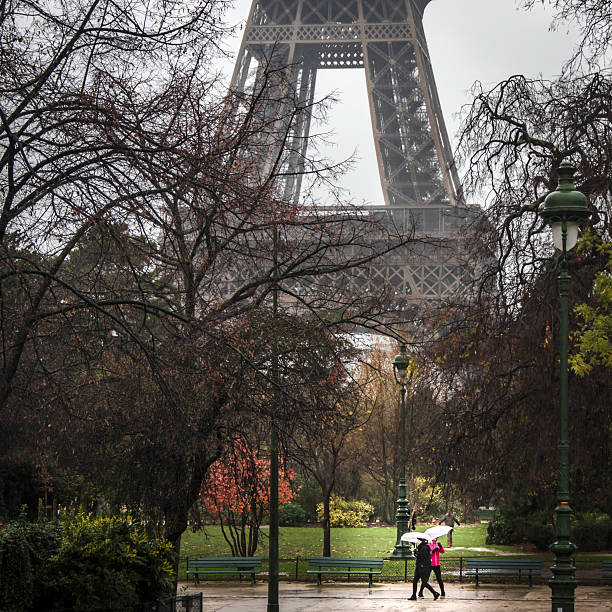 eiffel tower in the rain - nzgmw2017 stock pictures, royalty-free photos & images