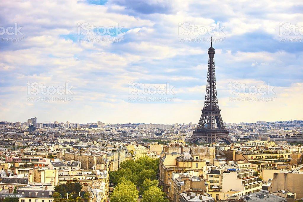 Eiffel Tower landmark, view from Arc de Triomphe. Paris, France. stock photo