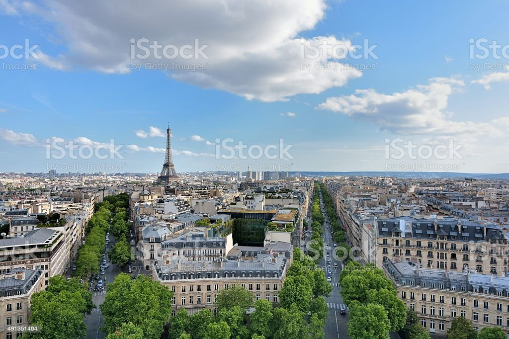 Eiffel Tower landmark, view from Arc de Triomphe. stock photo