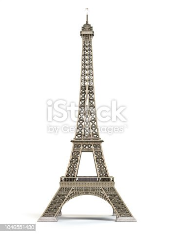 Eiffel Tower metallic isolated on a white background. 3d illustration