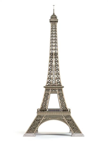 Eiffel Tower metallic isolated on a white background stock photo