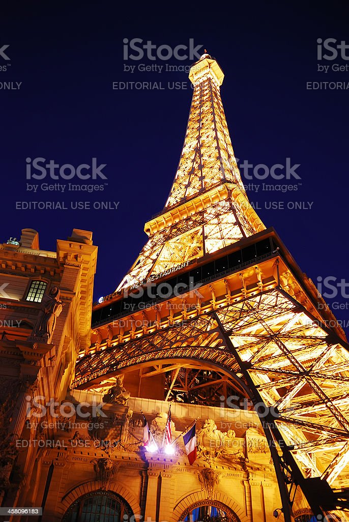 Eiffel tower of Paris Hotel in Las Vegas at night stock photo