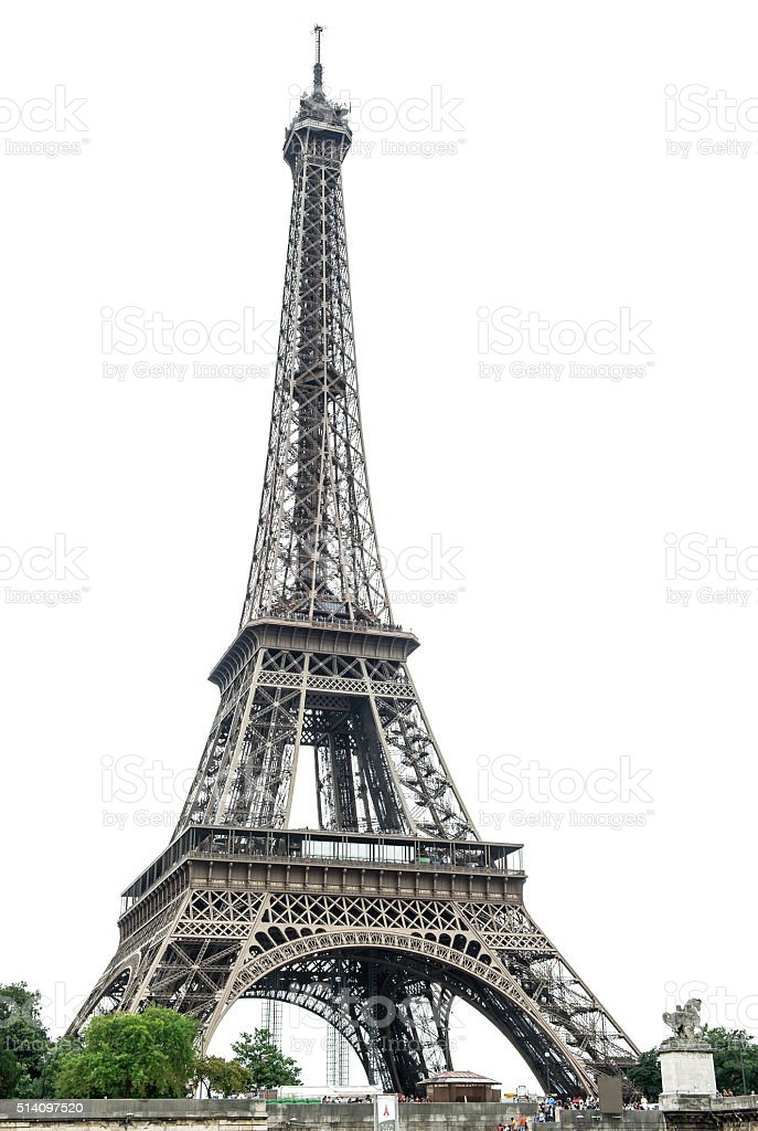 Eiffel Tower over white background. Paris, France stock photo