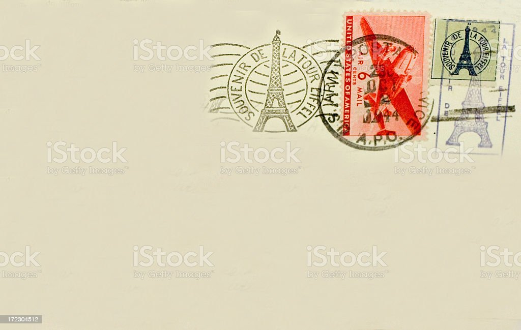 Eiffel Tower Paris France Souvenir Postcard with Postmark royalty-free stock photo