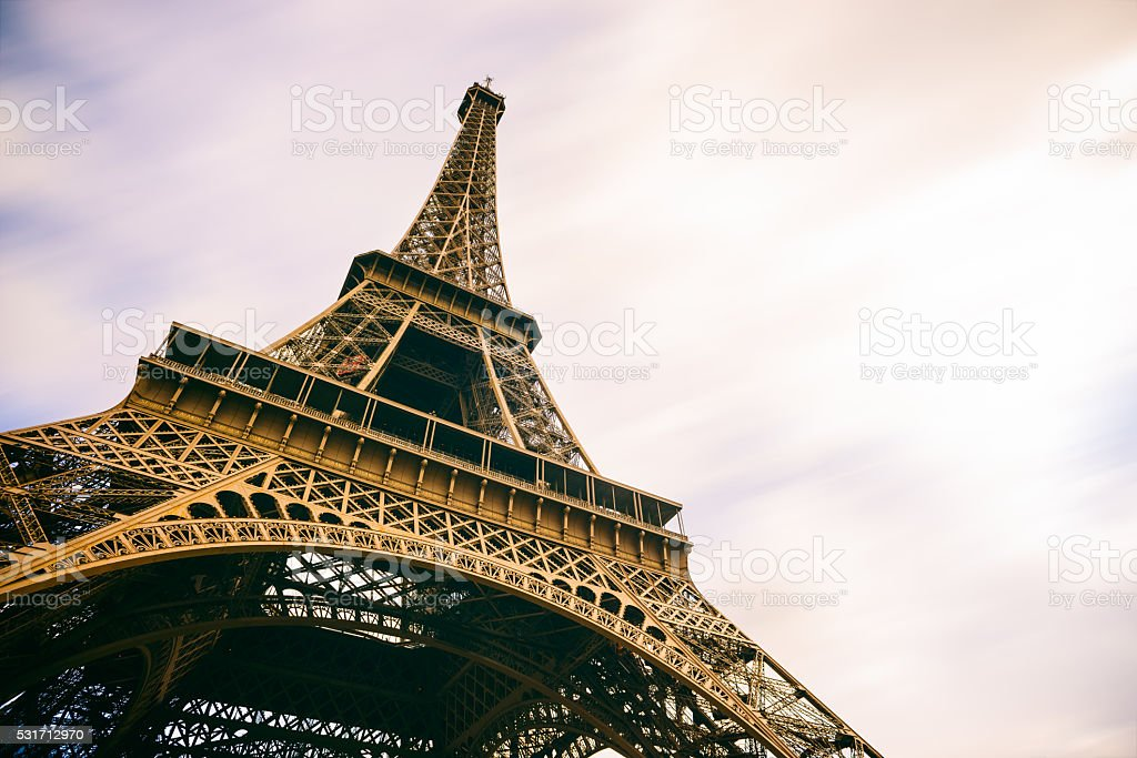 Eiffel Tower Paris France with Moving Clouds royalty-free stock photo