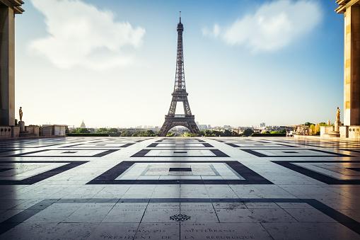 Eiffel Tower, Paris. View over the Tour Eiffel right after the sunrise. Paris, France