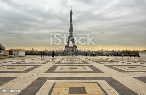 Paris, 17 march 2020: France ordered lockdown, Trocadero square, in front of Eiffel tower, usually crowded are almost empty.