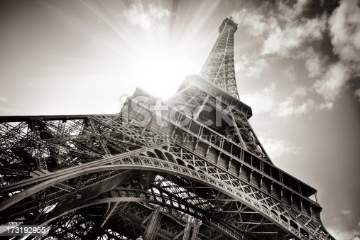 Eiffel Tower in b&w, Paris, France
