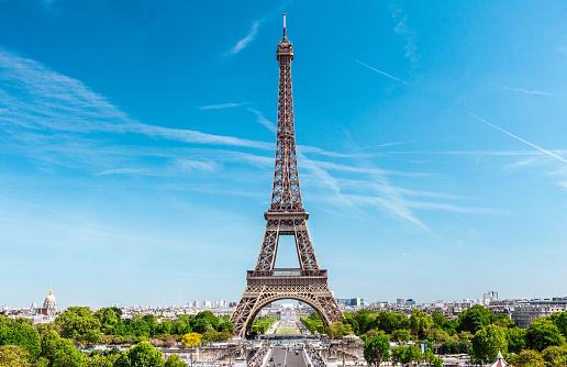 Eiffel tower and Trocadero park, Paris, France