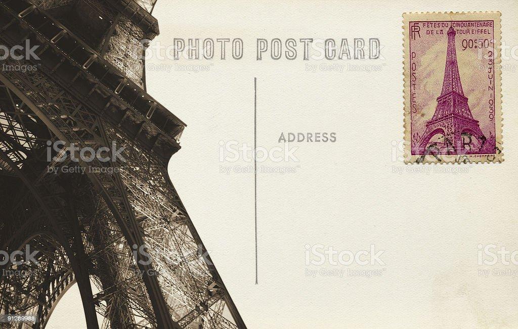 Eiffel Tower Postcard stock photo