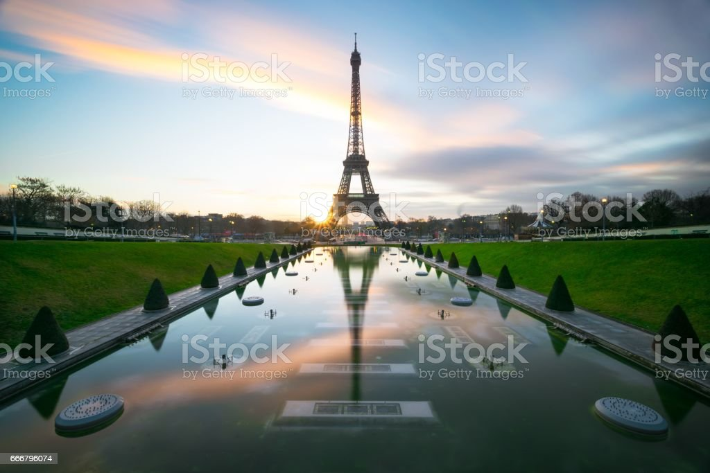 Eiffel Tower reflection stock photo