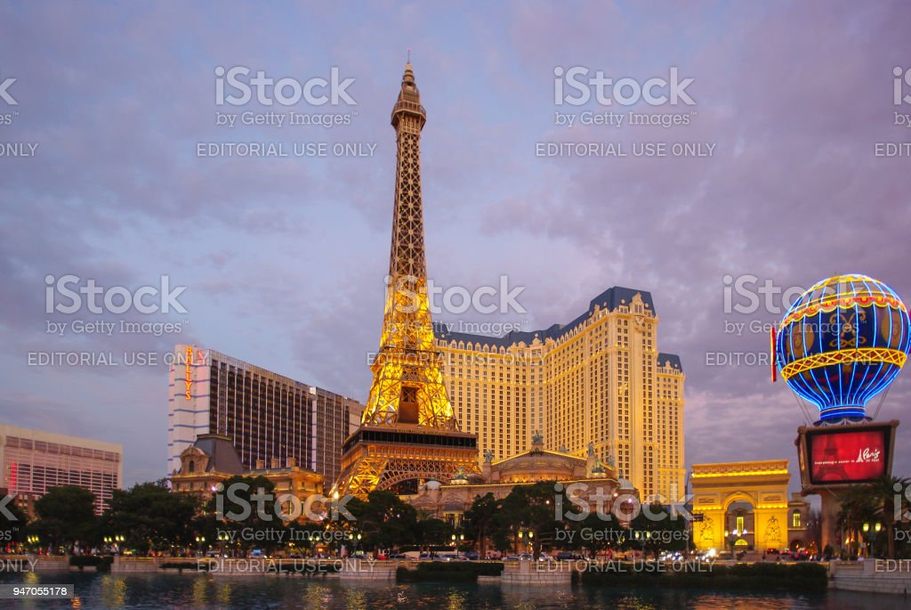 Eiffel Tower Replica + Hotels - Las Vegas Strip stock photo