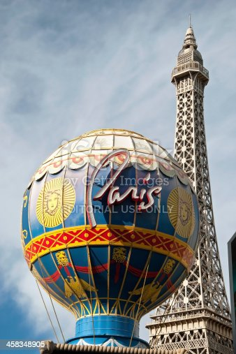 Las Vegas, Usa - September 28, 2011 -  Eiffel Tower with Montgolfier Balloon on the Las Vegas Strip. Replica of the Eiffel Tower is 541 ft (165 m) tall.