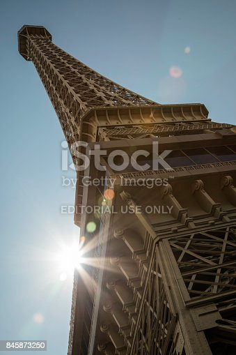 Eiffel Tower on the Las Vegas Strip. Replica of the Eiffel Tower is 541 ft (165 m) tall.
