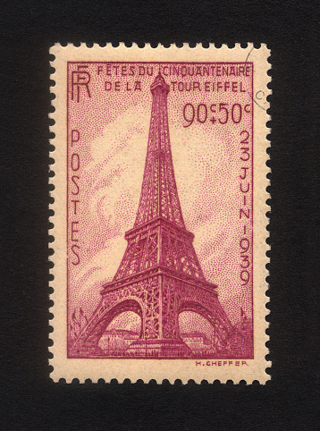 Eiffel Tower's stamp, 50th anniversary in 1939.