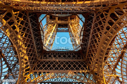 Eiffel Tower structure from directly below ,Paris ,France