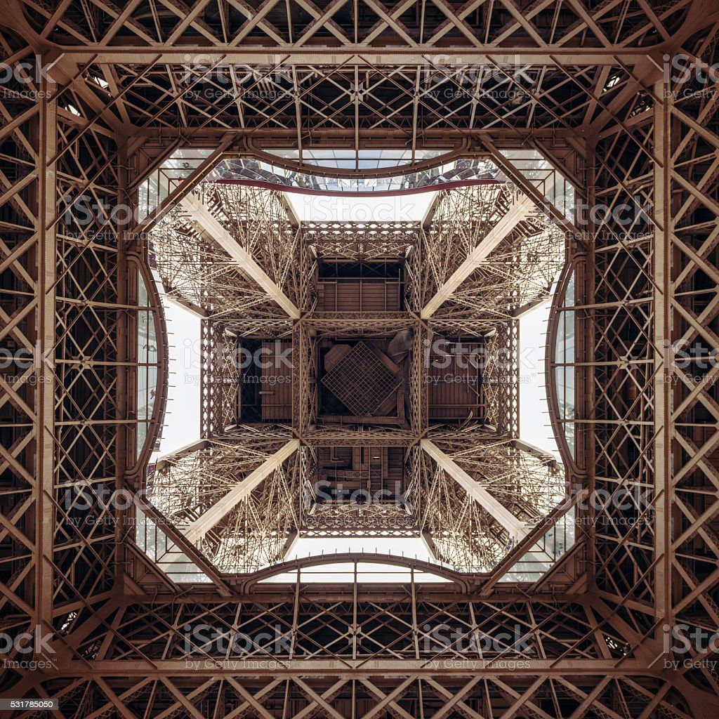 Eiffel Tower structure from directly below stock photo