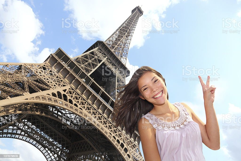 Eiffel Tower tourist royalty-free stock photo