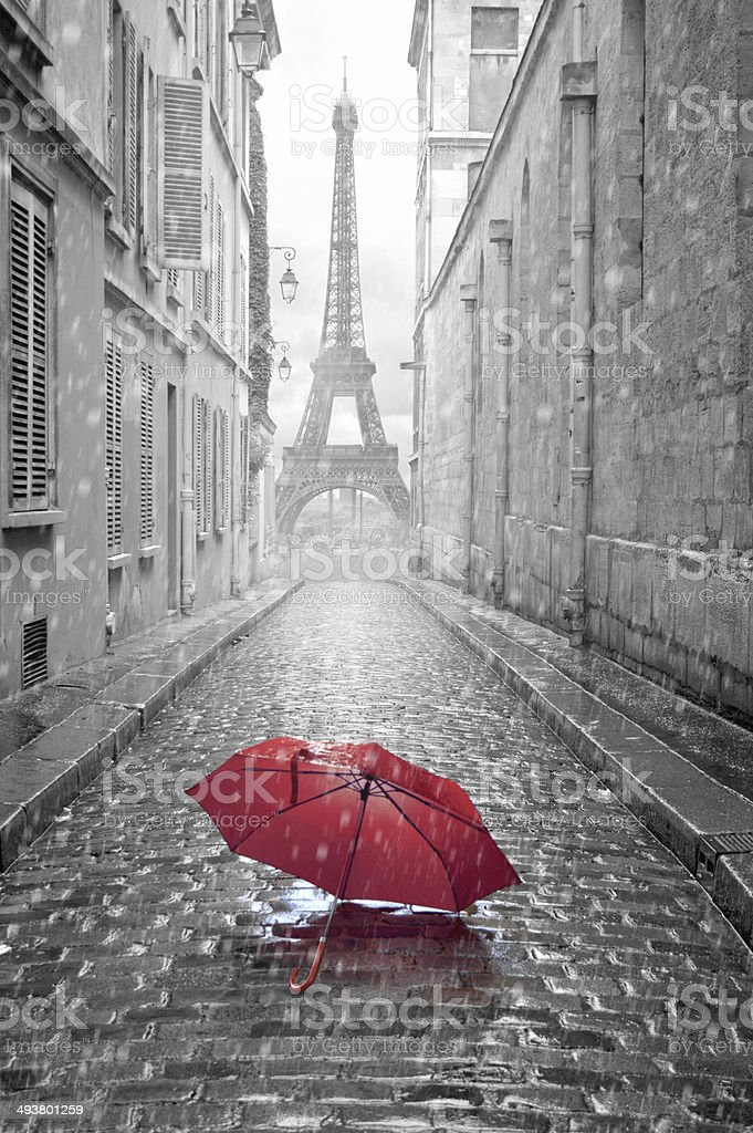 Eiffel tower view from the street of Paris stock photo