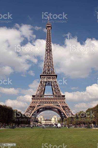 Eiffel Tower with blue skies and clouds