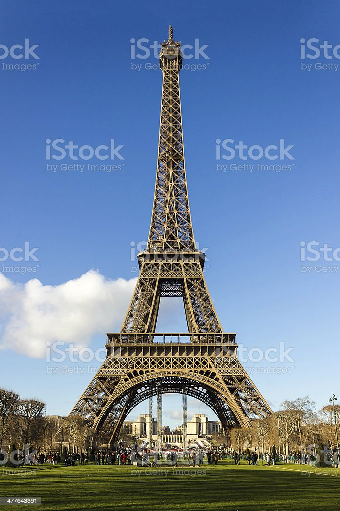 Eiffel tower with blue sky royalty-free stock photo