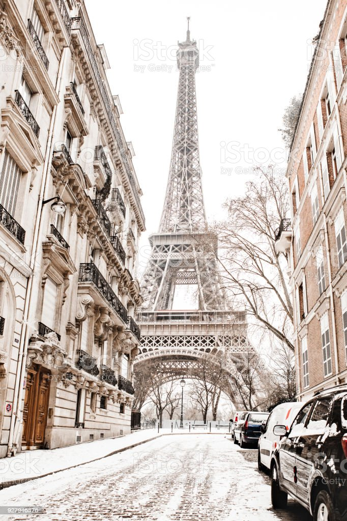 Eiffel tower with snow stock photo