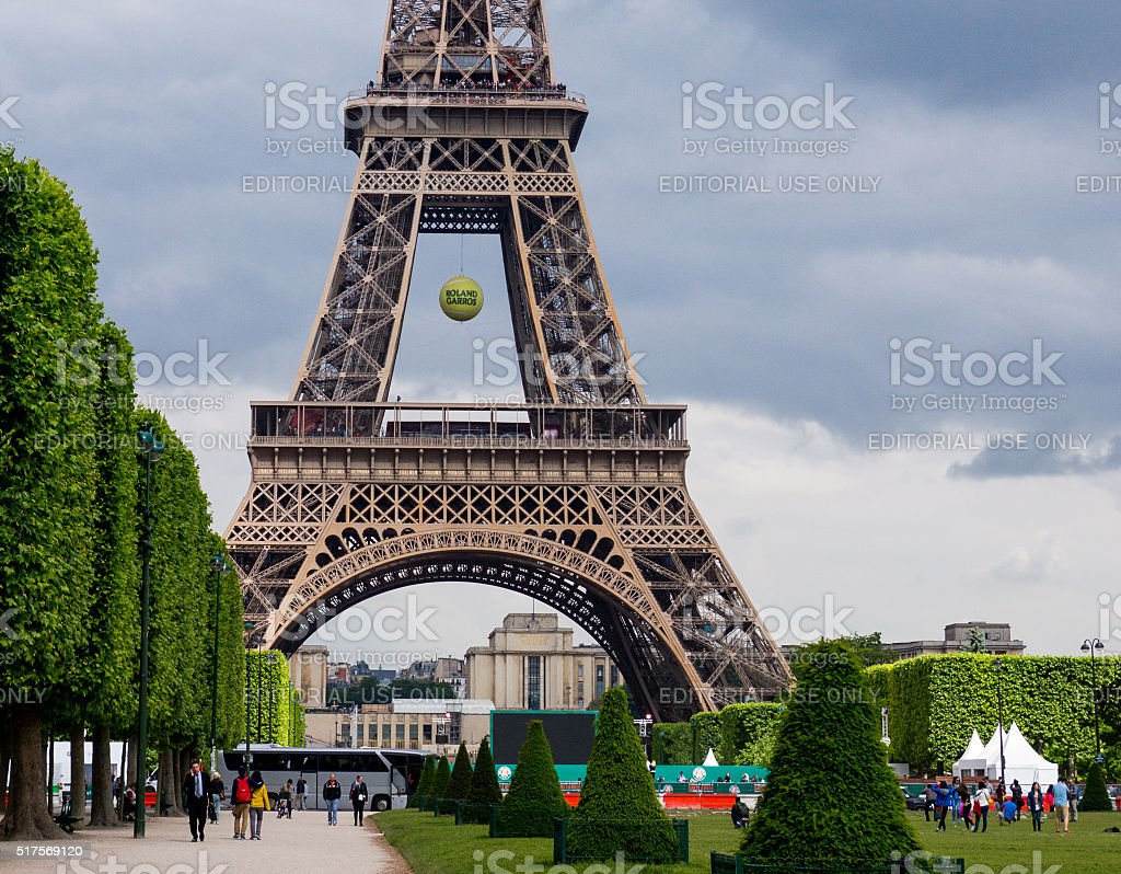 Eiffel Tower with tennis ball stock photo
