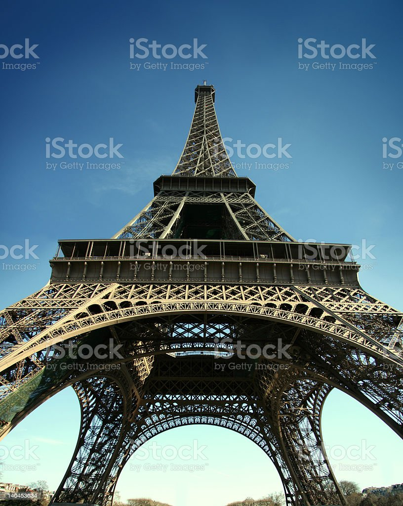 Eiffel tower with wide angle view HD pict royalty-free stock photo