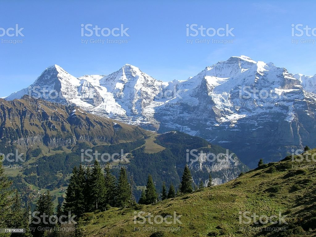 Eiger, Moench, Jungfrau stock photo