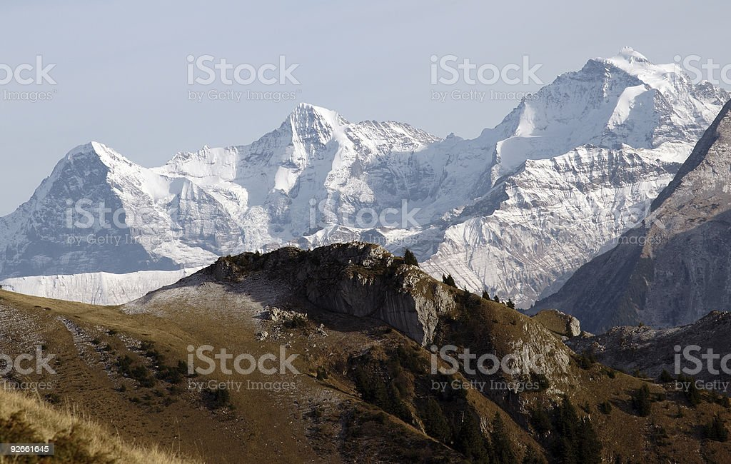 Eiger, Moench, Jungfrau. stock photo