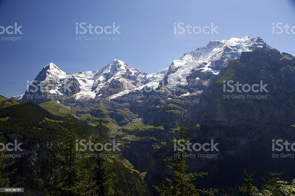 Eiger, Monch, and Jungfrau stock photo