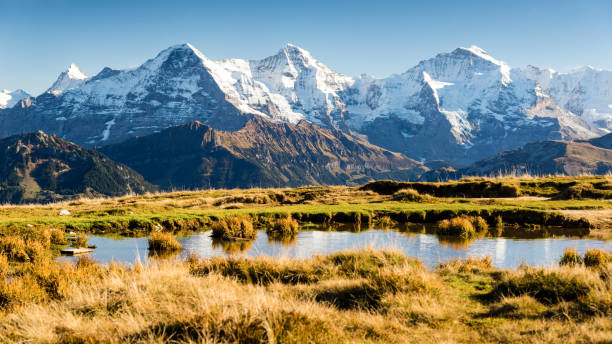 eiger, monk and virgin, bernese oberland, switzerland - wasser stock pictures, royalty-free photos & images