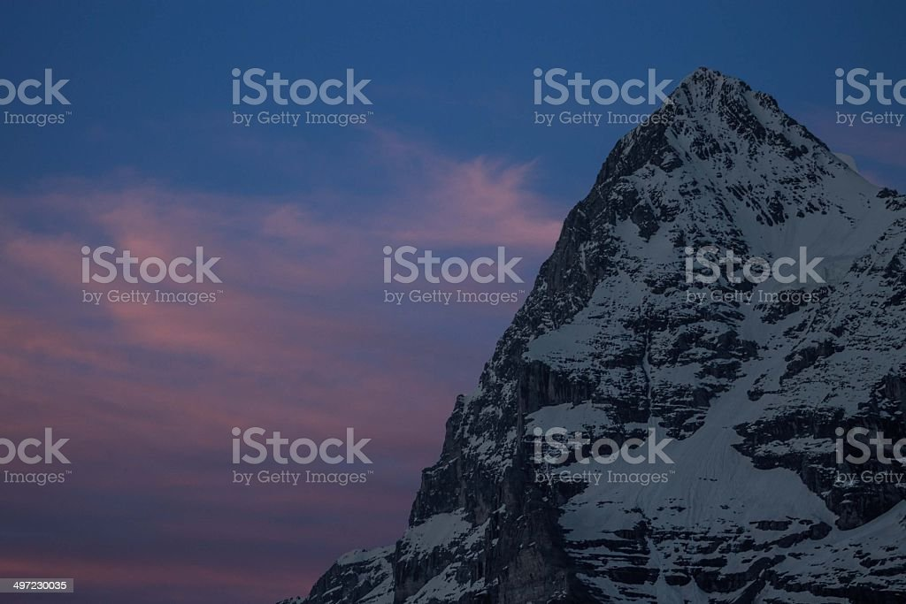 Eiger mountain during sunset, Jungfrau region royalty-free stock photo