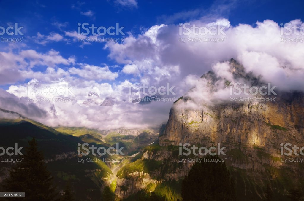 Eiger Mountain, Jungfrau Region, Swiss Alps stock photo