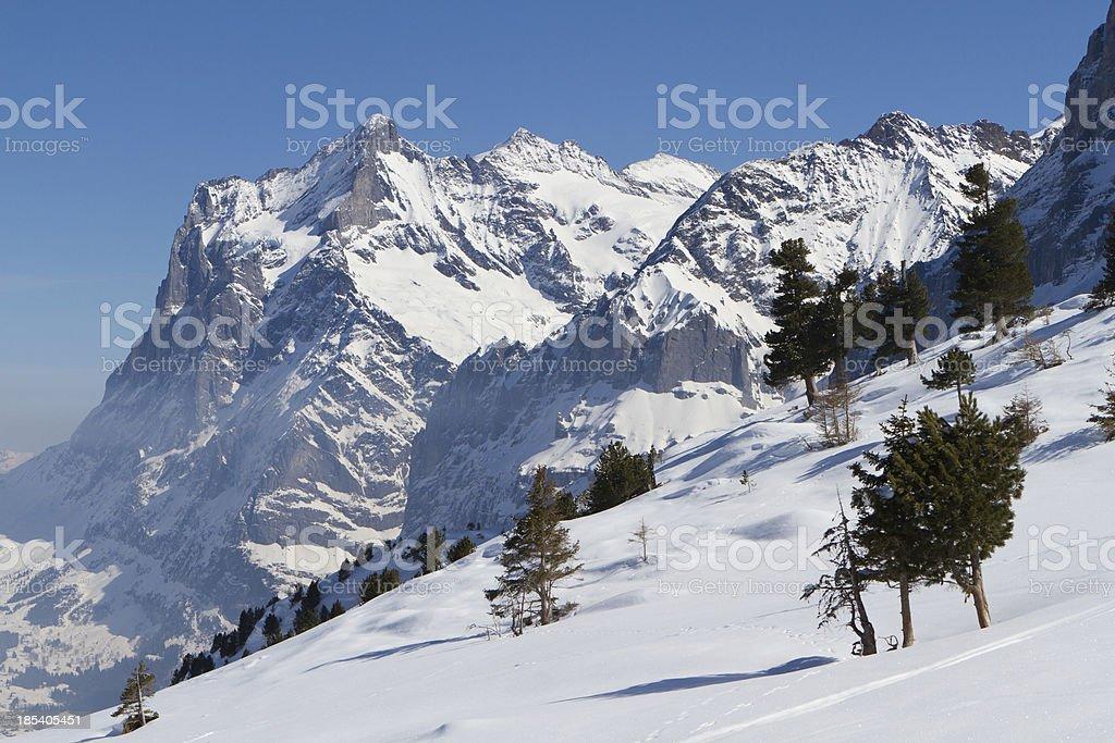 Eiger mountain range in Switzerland, Berne Canton royalty-free stock photo