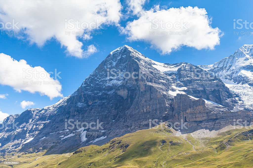 Eiger north face and Eiger glacier stock photo