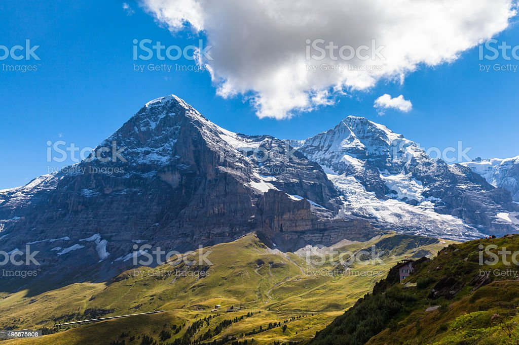 Eiger north face, Eiger glacier and Monch stock photo