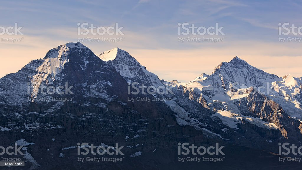 Eiger North Face, Mönch, Jungfrau Peaks stock photo