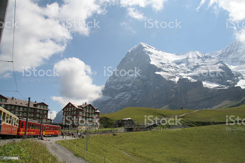 Eiger view from Kleine Scheidegg in switzerland royalty-free stock photo
