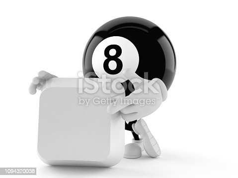 Eight ball character with blank keyboard key isolated on white background. 3d illustration