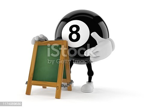 Eight ball character with chalk signboard isolated on white background. 3d illustration