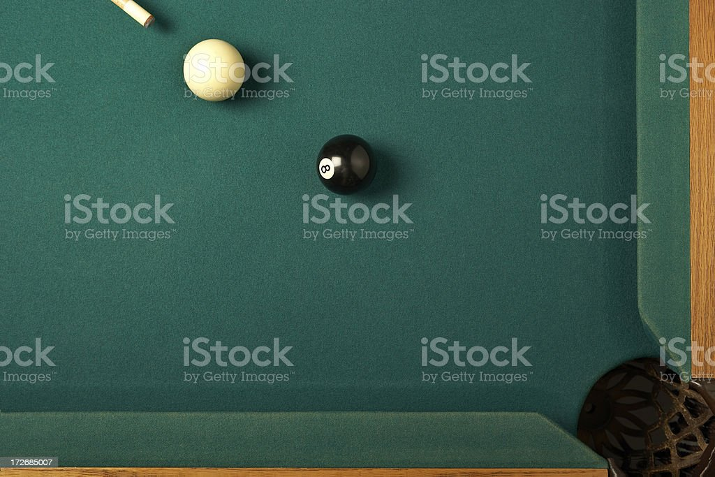 Boule 8 corner pocket sur la table de billard - Photo