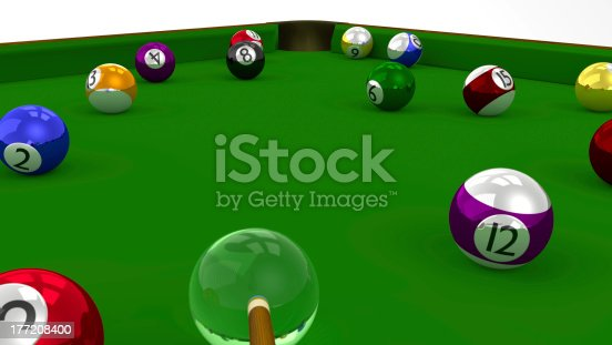 istock Eight Ball Pool 3D Game in Playing on Green Table 177208400