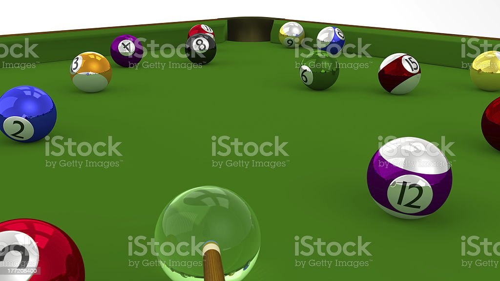 Eight Ball Pool 3D Game in Playing on Green Table stock photo