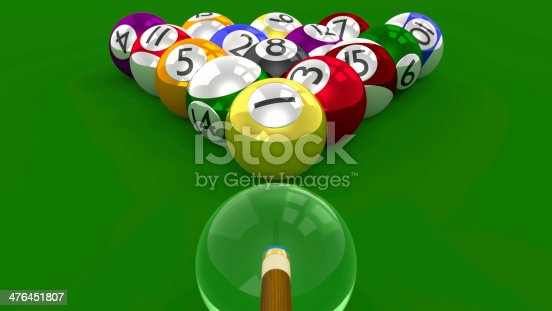 istock Eight Ball Pool 3D Game - Racked for Break Shot 476451807