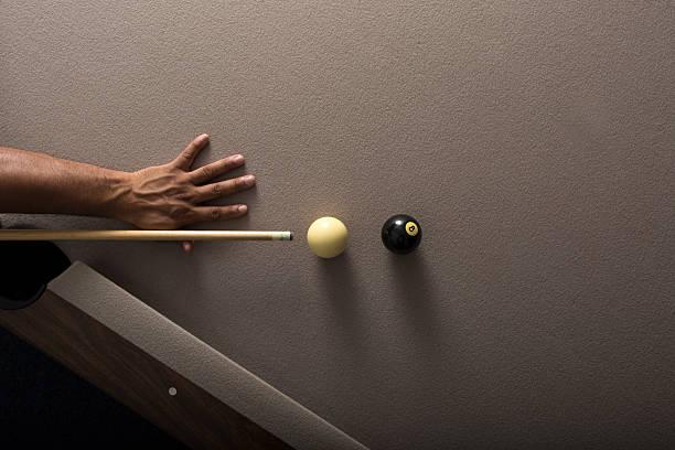 Eight Ball Shot in the corner Pocket stock photo