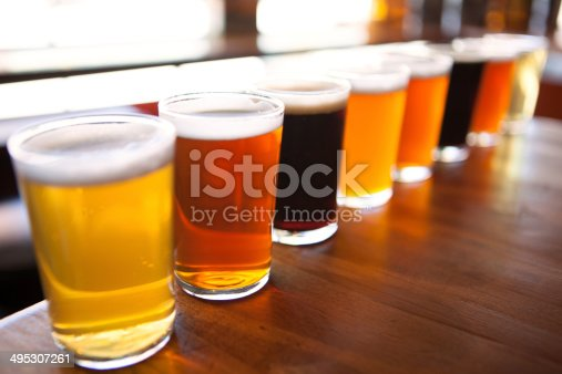 istock Eight beer samplers lined up on a table 495307261