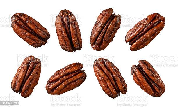 Eight caramelized pecans isolated on white picture id120490788?b=1&k=6&m=120490788&s=612x612&h=3gvedry4e21i4wveximfceza irpdtl73buz4tw6pc0=